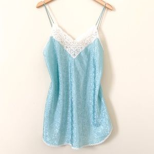 Vintage Mini Teal Lace Slip Dress Size Medium